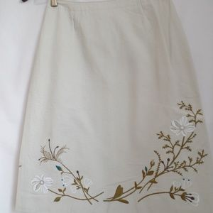 J. Crew Ivory Floral Embossed Skirt 2